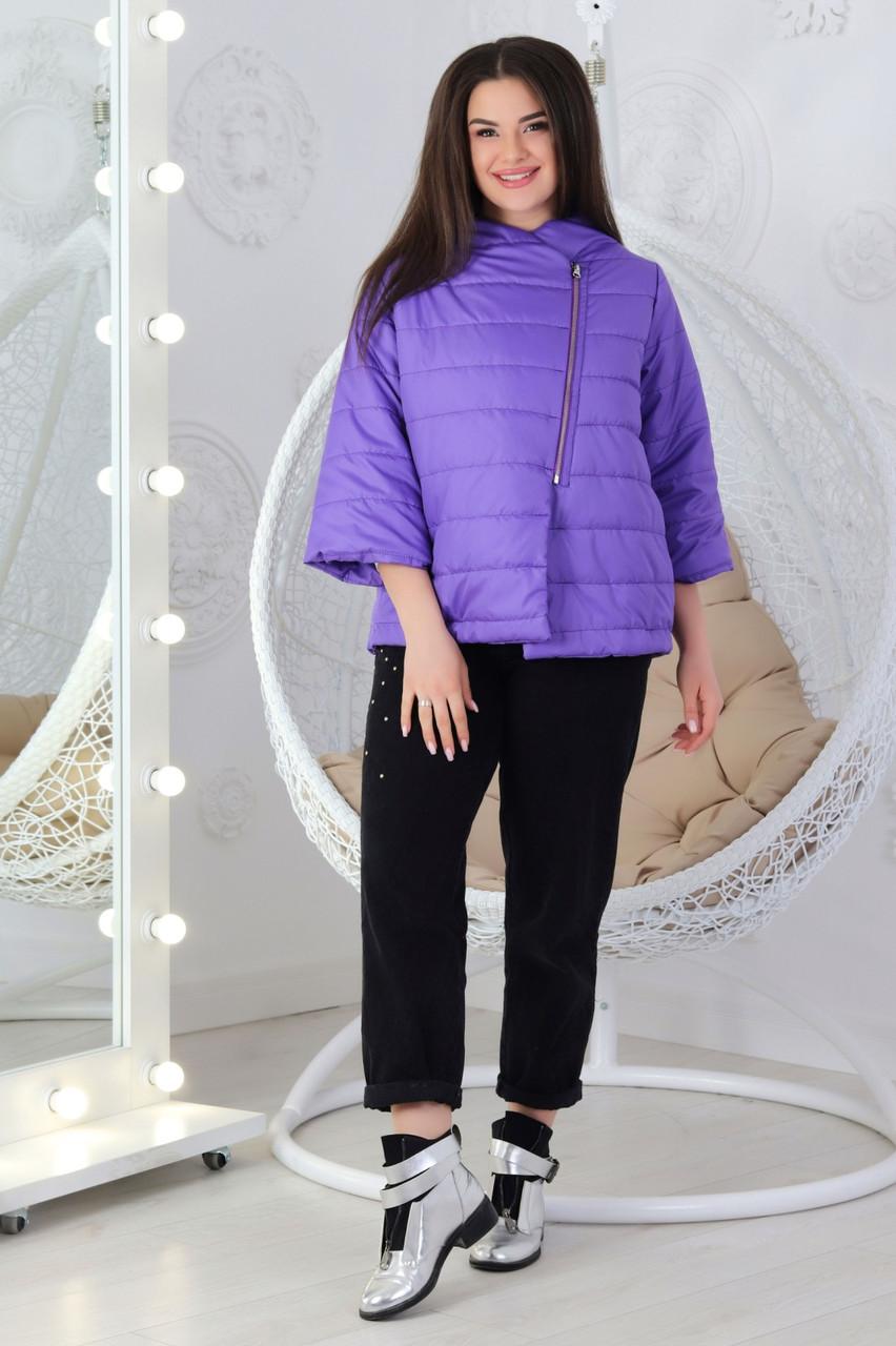 Курточка больших размеров М524 фиолетовая / фиолетовый / фиолетового цвета