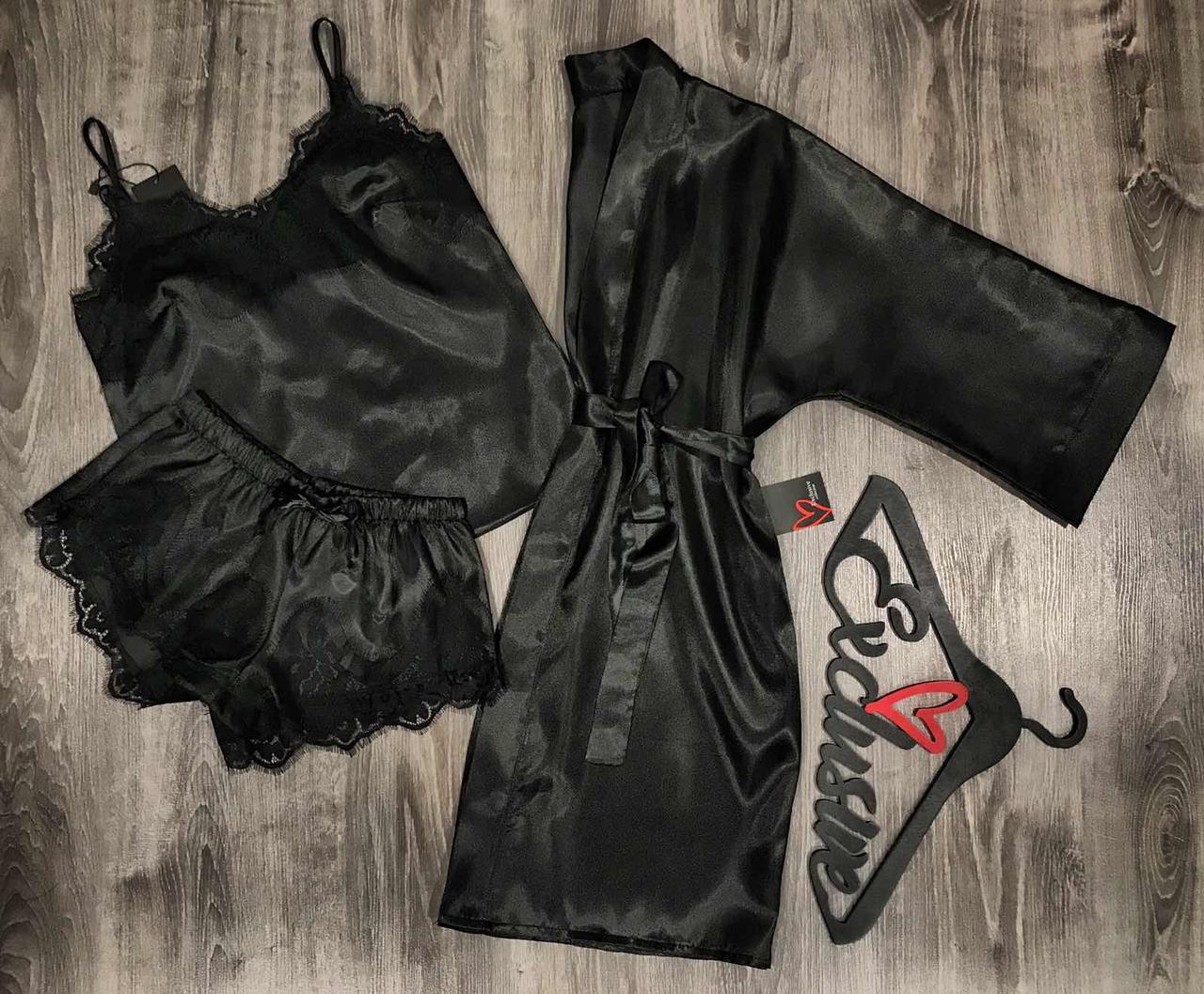 Черный атласный комплект тройка халат+пижама  081-055.
