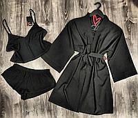 Черный комплект домашней одежды халат+пижама.