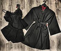 Черный набор одежды для дома халат и пижама с шортами 047-015.