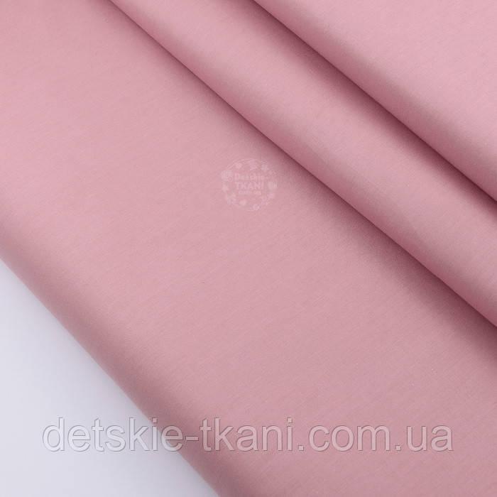 Лоскут сатина однотонного цвета пыльной розы № 2166с, размер 36*80 см
