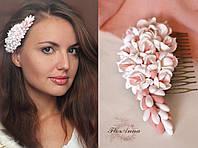 """""""Розовый персик"""" гребень для волос с фрезиями, фото 1"""