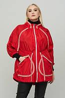 Женская ветровка свободного кроя большого размера красного цвета (50,52,54,56,58,60,62,64,66,68,70)