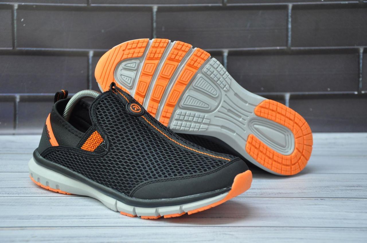 Мужские кроссовки без шнурка черные сетка Restime (размеры:41,42,43,44,45)