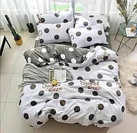 Красивое и качественное постельное белье евро,серо-белый горошек