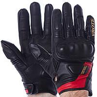 Мотоперчатки кожаные VROTE V003, р-р M-XXL, карбон, черно-красный (V003)