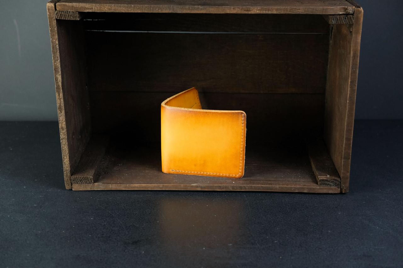 Кожаный кошелек портмоне Компакт Кожа Итальянский краст цвет Янтарь