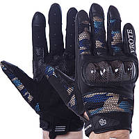 Мотоперчатки текстильные VROTE, р-р M-XXL, карбон, черно-синий (V002)