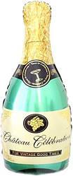 Фол шар МИНИ-ФИГУРА Бутылка шампанского Зеленая (Китай)