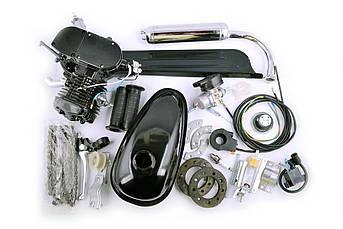 Двигатель (В сборе)  велосипедный (в сборе) 80 см³ (бак, ручка газа, звезда, цепь, без стартера) (черный) EVO