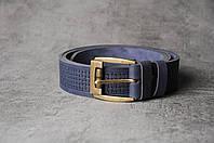 Кожаный качественный синий ремень, фото 1