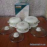 Набор кастрюль A-PLUS 2056 эмалированных,6 предметов с цветочным принтом, фото 2