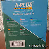 Набор кастрюль A-PLUS 2056 эмалированных,6 предметов с цветочным принтом, фото 4