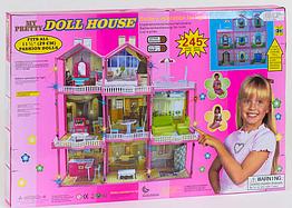 Домик для кукол 6992 3 этажа, свет, мебель (высота 109 см), в коробке