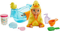 Барби пупс младенец Barbie Skipper Babysitters Inc. Feeding and Bath-Time Playset with Color-Change Baby Doll GHV84