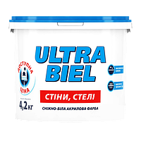 Sniezka ULTRA BIEL снежно-белая акриловая краска для стен и потолков 3л (4.2кг)
