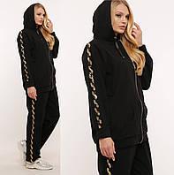 Спортивный костюм (золотая змейка) черный 56 58 60
