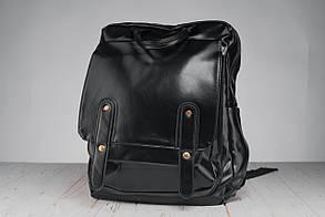Шкіряний чоловічий рюкзак,чорний