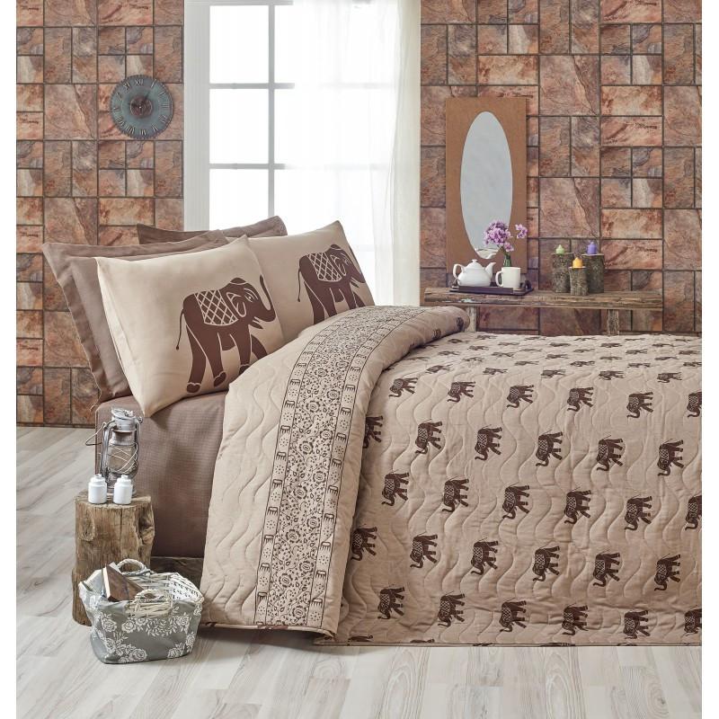 Покрывало 160х220 с наволочкой на кровать, диван Слон коричневый