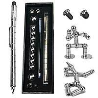 Набор магнитная ручка конструктор Polar Pen + стилус (Серебро) (PP100S)