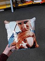 Печать на подушке с пайеткой
