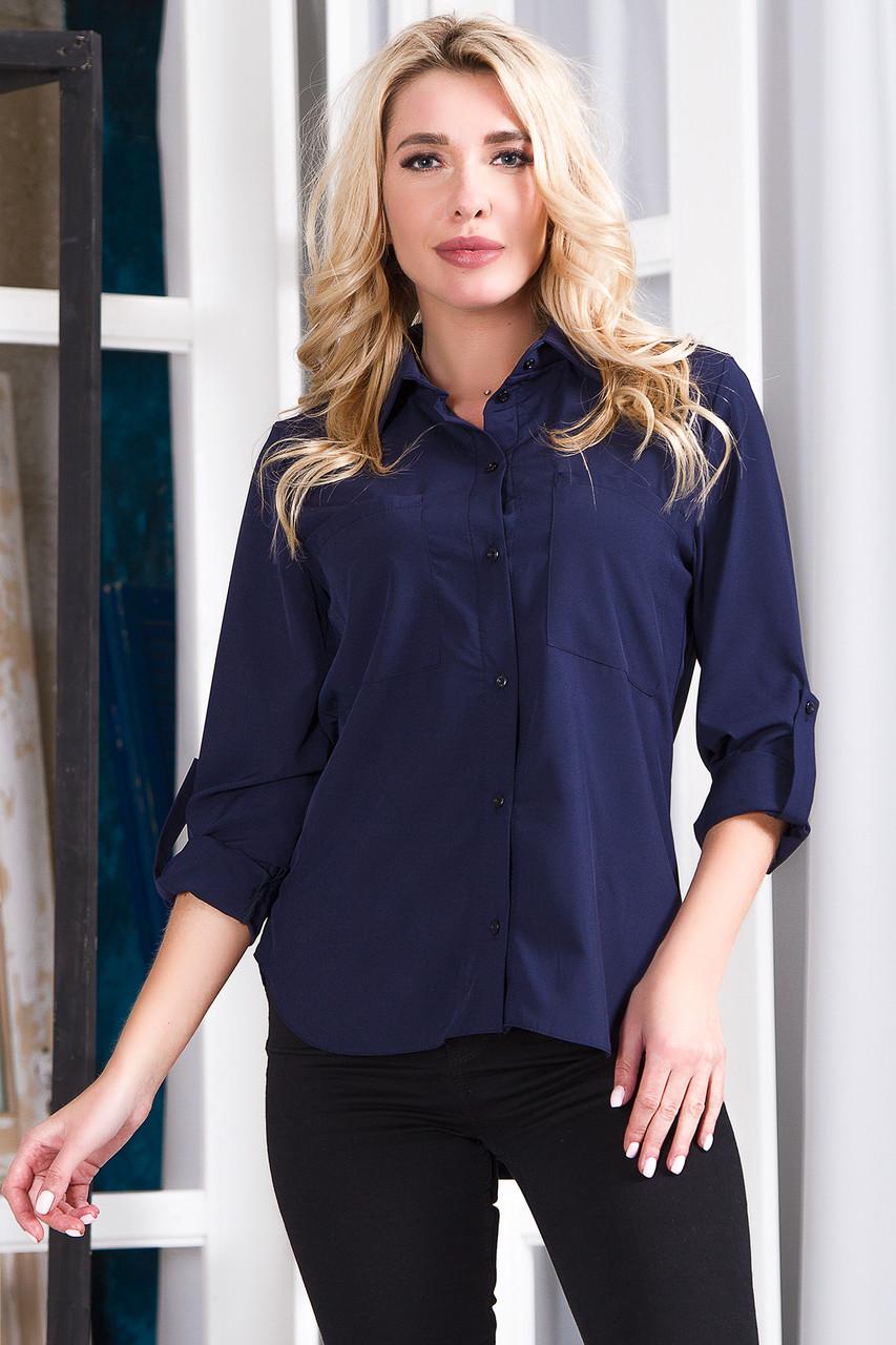 Блузка 629 темно-синяя