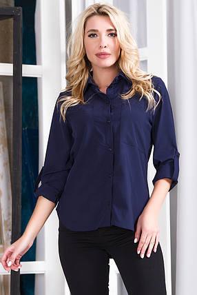 Блузка 629 темно-синяя, фото 2