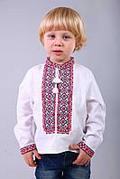 Детская вышиванка для мальчика из натуральной хлопковой ткани с вышивкой крестиком