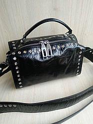 Женская кожаная сумка черная  два ремня