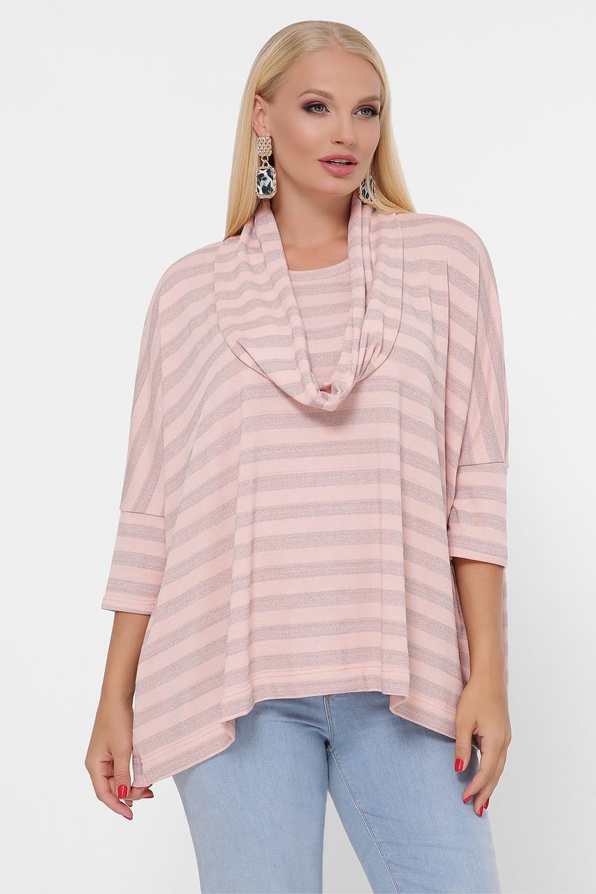 Полосатый розовый свитер для полных женщин