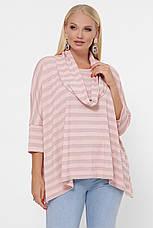 Полосатый розовый свитер для полных женщин, фото 2