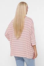 Полосатый розовый свитер для полных женщин, фото 3