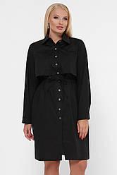 Черное офисное платье-рубашка с длинным рукавом большие размеры