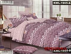 Семейный набор хлопкового постельного белья из Сатина №1905AB  Черешенка™