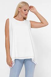 Свободная белая блузка-майка больших размеров