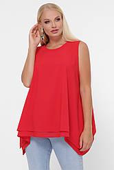 Красная свободная блузка-майка больших размеров