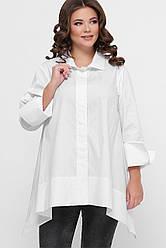 Белая женская хлопковая рубашка-туника широкая ассиметричная большой размер