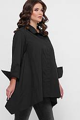 Женская классическая хлопковая рубашка больших размеров с ассиметричным низом цвет черный