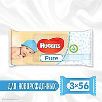 Вологі серветки Huggies Pure 3 упаковки по 56 штук (2434331)