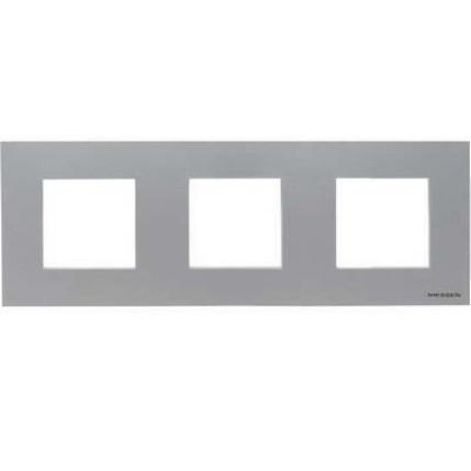 Рамка 3 постовая, серебристый металлик Zenit ABB NIESSEN N2273 PL
