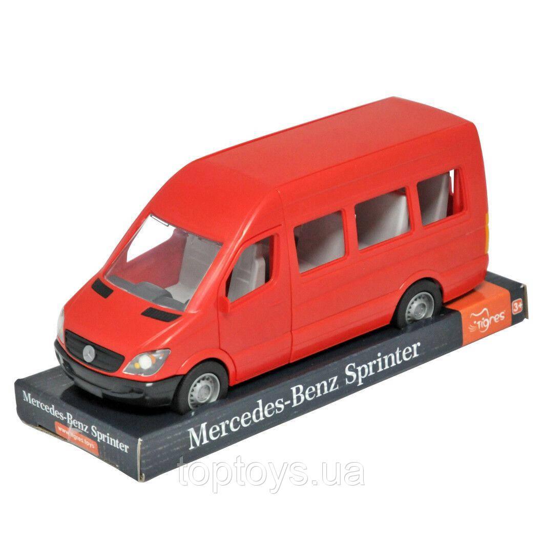 Автомобиль Tigres Mercedes Benz Sprinter пассажирский на планшете красный (39705)