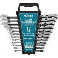 Набор ключей комбинированных с трещоткой и шарниром 12ед. 7-19мм Molder MT57112