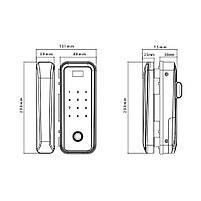 Электронный замок по отпечаткам пальцев для стеклянных дверей ZKTECO GL300, фото 4