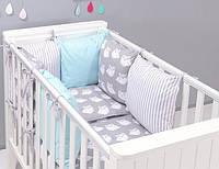 """Комплект постельных принадлежностей в кроватку (17 предметов) """"Ролли"""" (белый/серый/мятный), фото 1"""