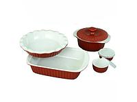 Набор керамической посуды для запекания 8 предметов (1.5, 1.3, 2.8 , 2*0,45; красный, фиолетовый) Kamille 6106