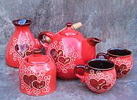 Сервіз чайно-кавовий на 2 особи декор Серце червоний