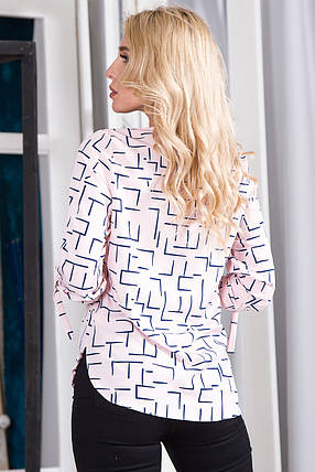 Блузка 627 розовая принт, фото 2