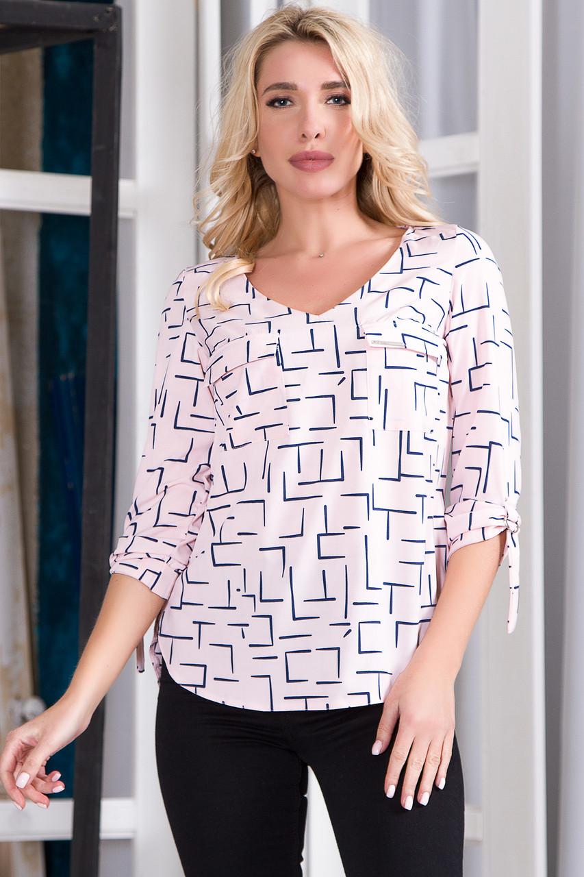 Блузка 627 розовая принт