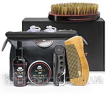 Набор для бороди ALIVER ( из 7 ед) нагрудник, масло, крем, гребінець2, кисть, сумка