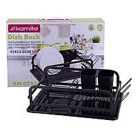 Сушилка для посуды Kamille 41*28*13,5 см  из алюминия с поддоном KM-0752, фото 1